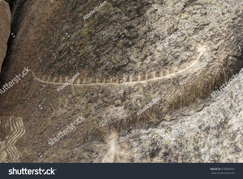 Prehistoric rock carving petroglyph gobustan azerbaijan