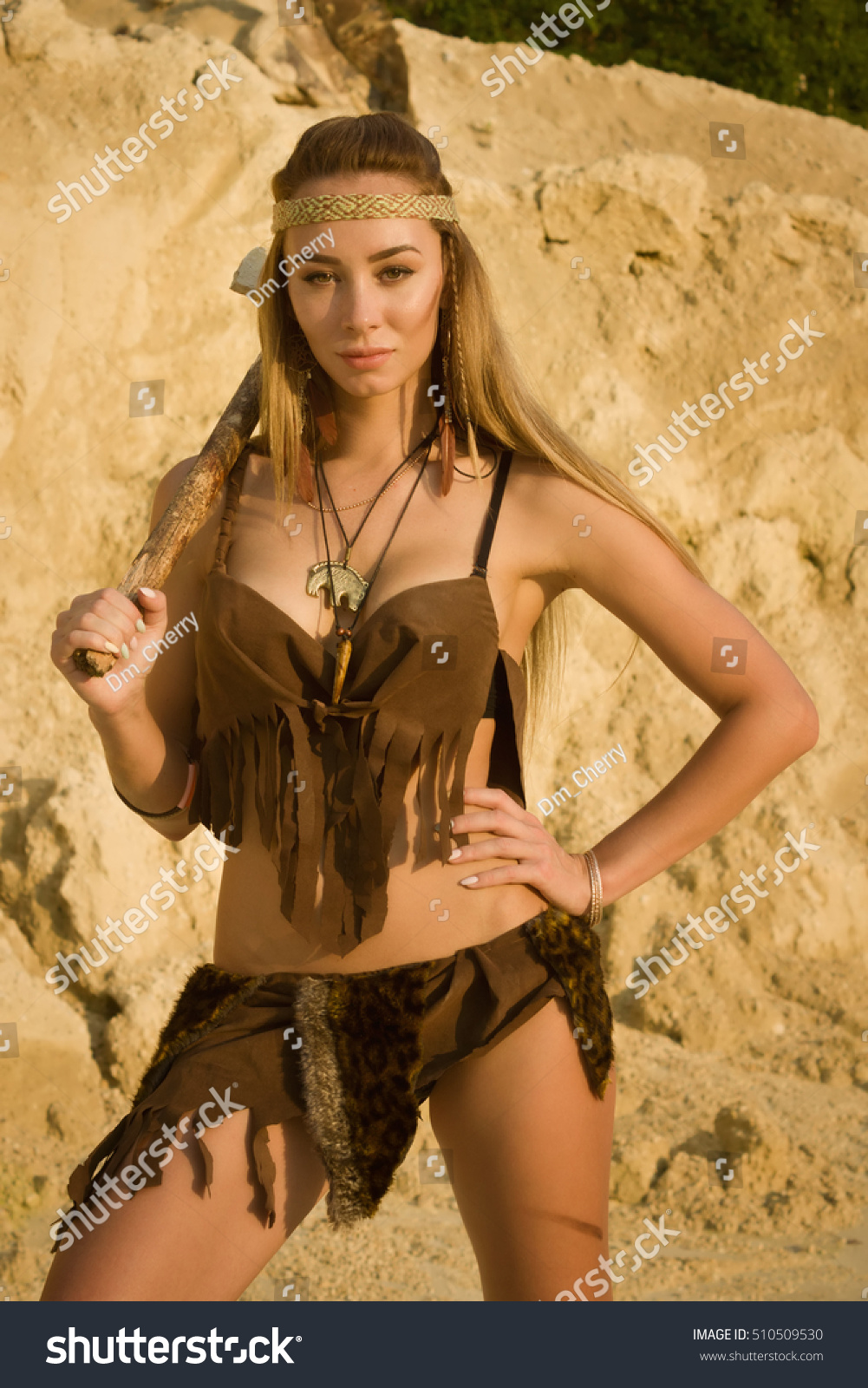Prehistoric Woman Stone Axe Hunting Stone Stock Photo Edit Now
