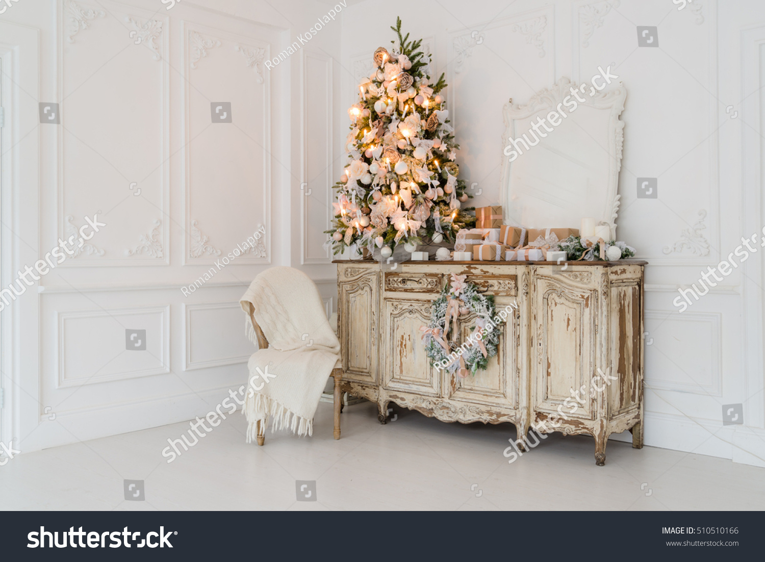 christmas tree on wooden chest drawers stock photo 510510166 shutterstock. Black Bedroom Furniture Sets. Home Design Ideas