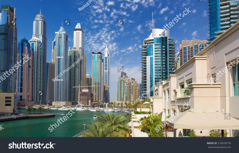 Dubai marina luxury skycrapers boatsdubaiunited arad stock for Luxury hotels in dubai marina