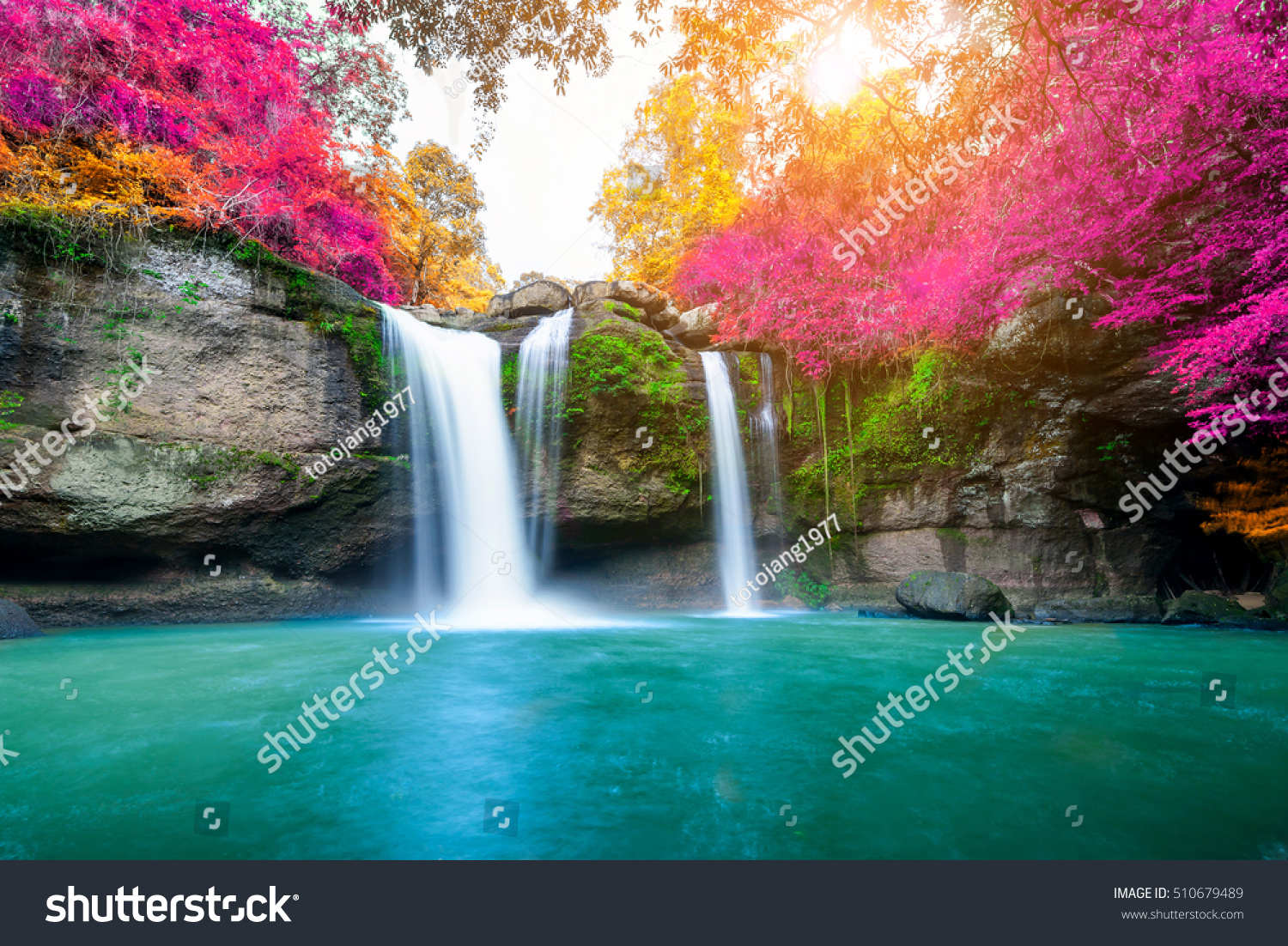 Amazing Waterfall Colorful Autumn Forest Stock Photo ... - photo#2