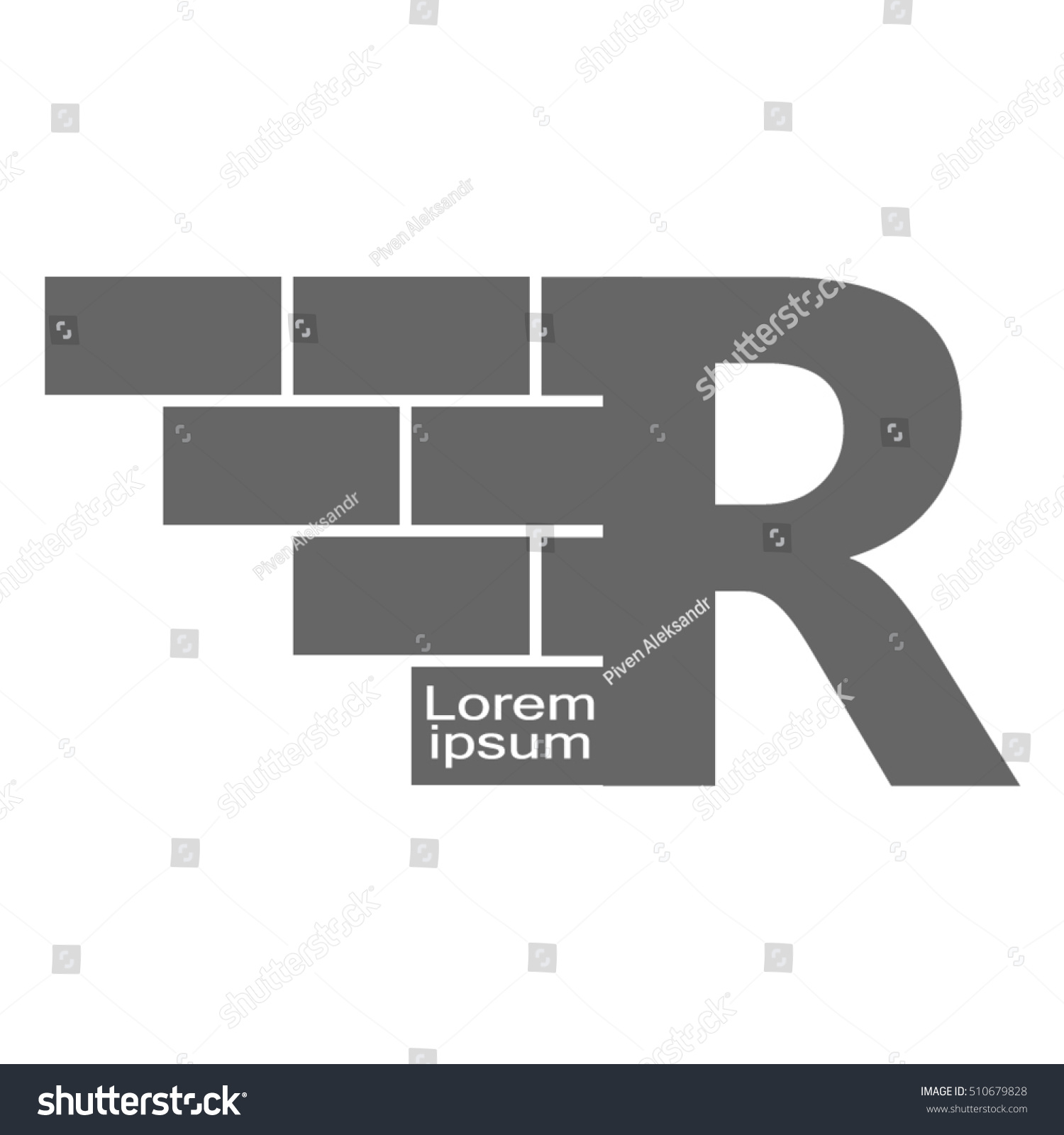 letter Logo, brick wall logo design with place for your data. Vector ...
