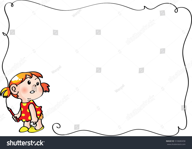Girl Holding Pencil Frame Vector de stock510680458: Shutterstock