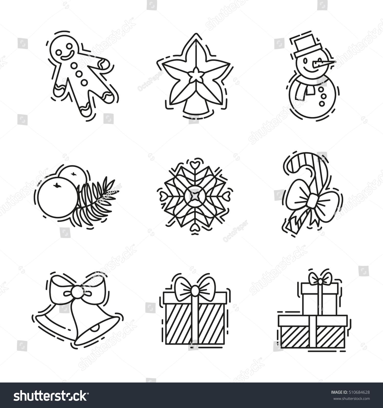 Christmas Icons Set Vector Outline Colour Stock Vector 510684628 ...