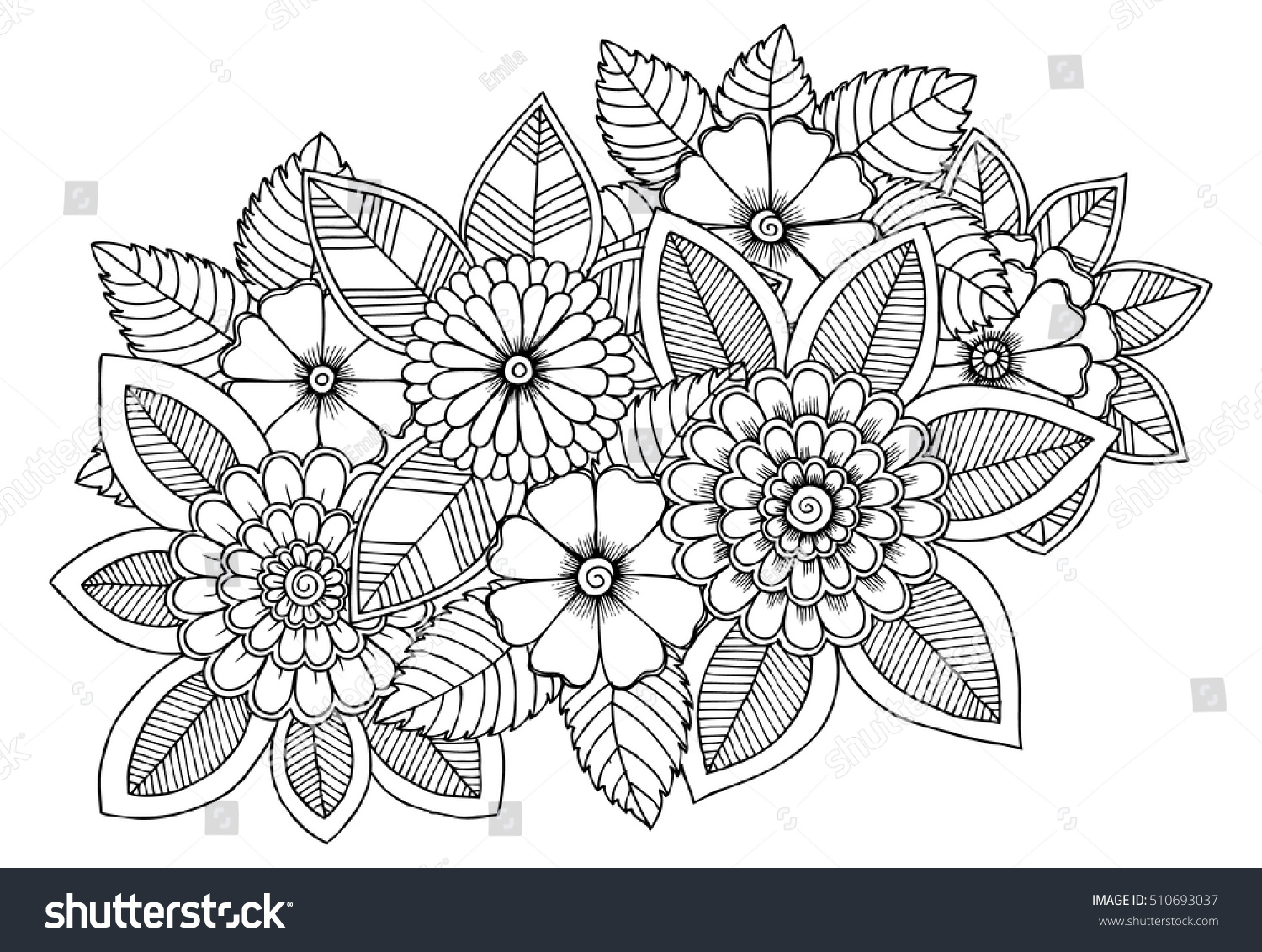 Black White Flower Pattern Coloring Doodle Stock Vector 510693037 ...