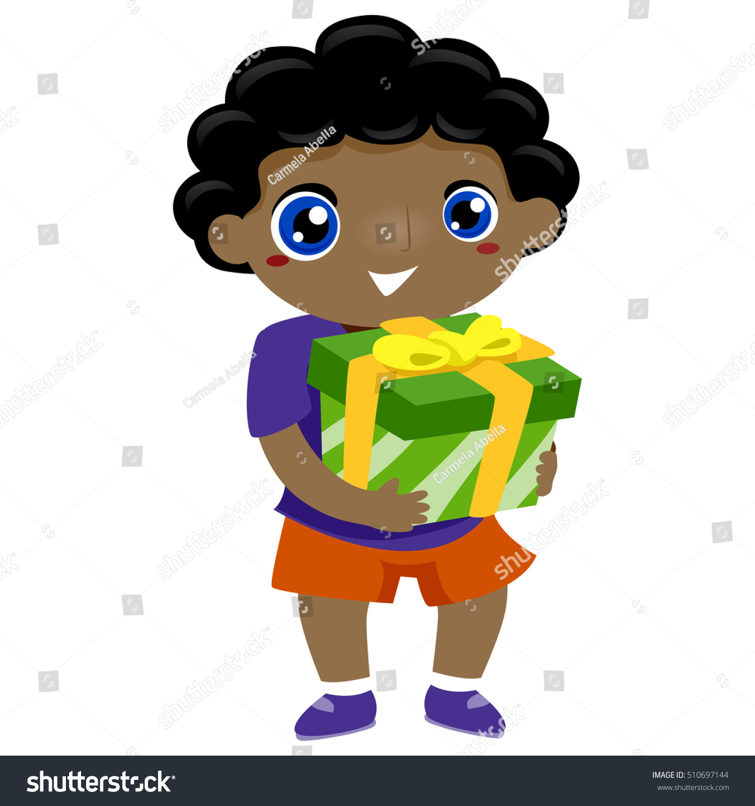 Illustration Black Kid Boy Carrying Gift Stock Vector
