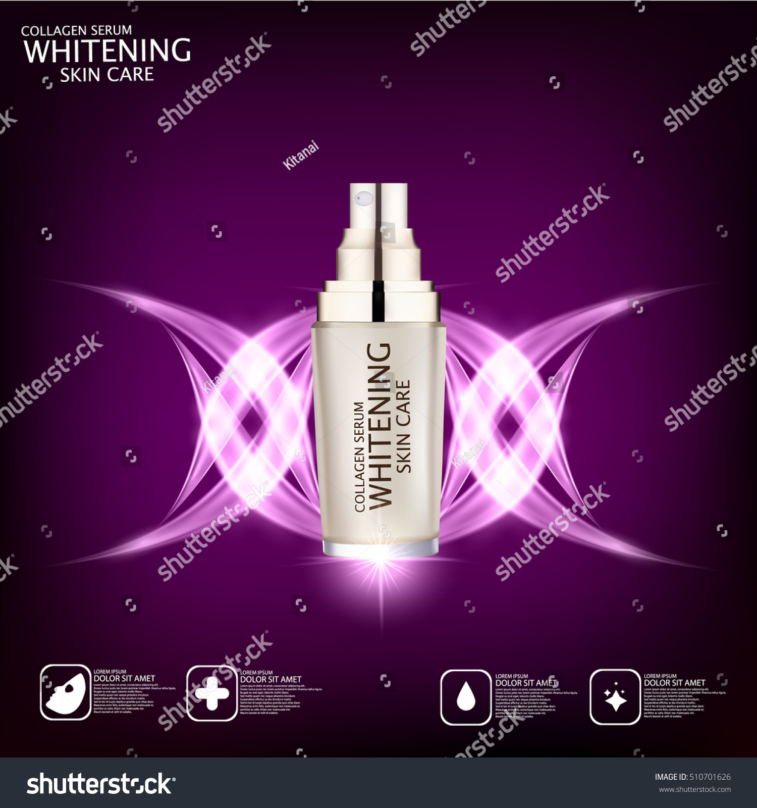 Collagen Skin Care: Collagen Serum Concept Skin Care Cosmetic Stock Vector