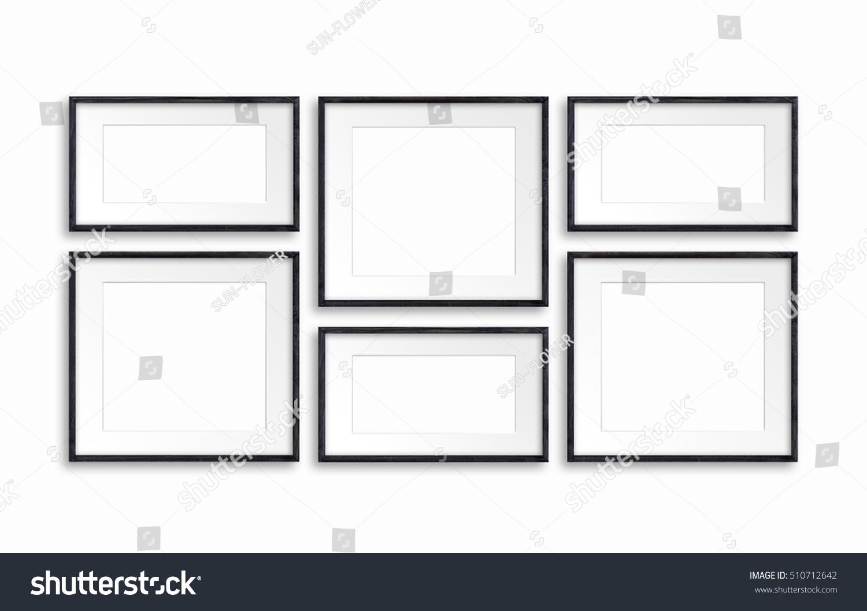 Collage of six black wooden frames | EZ Canvas