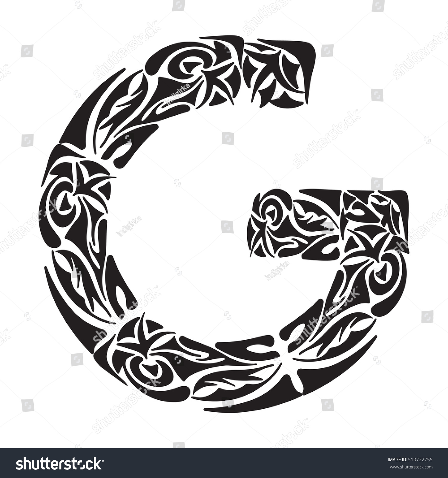 Boho Capital Letter G Vector Illustration For Coloring Page Tattoos Invitations Or Decoration Tribal Design Element Stock Photo