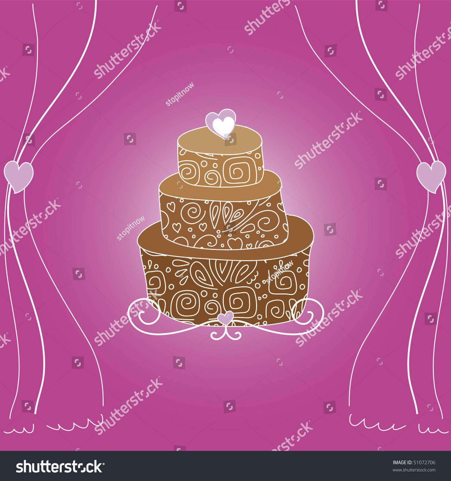 Chocolate Wedding Cake Purple Background Stock Vector