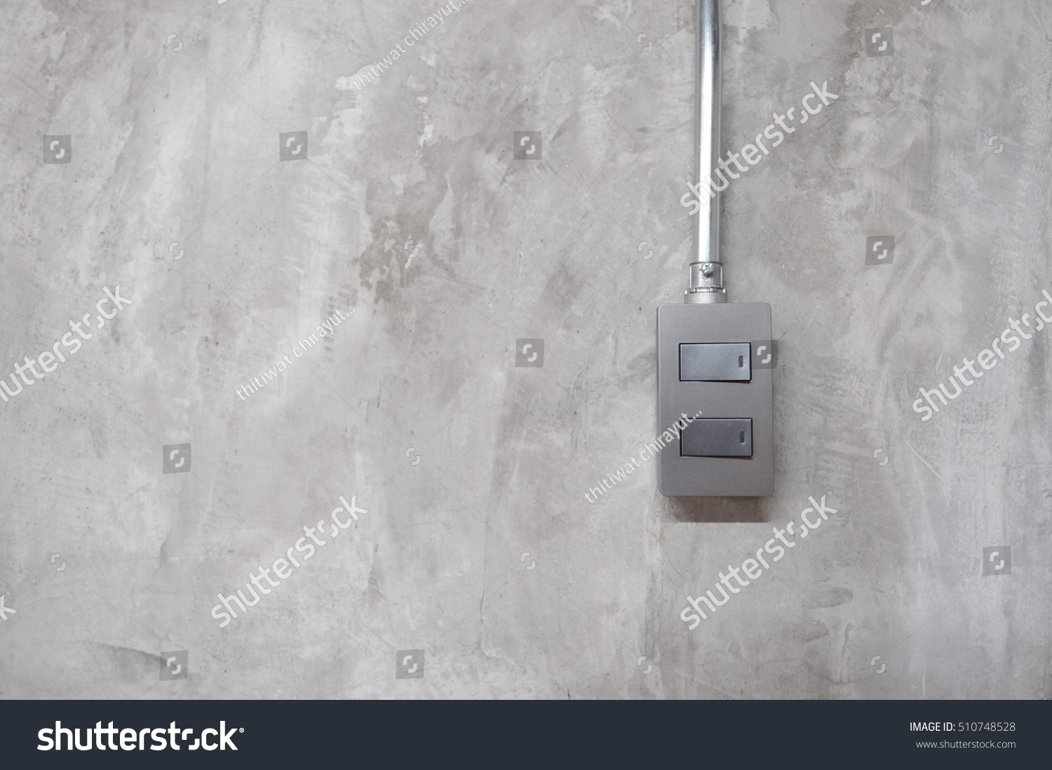 Outlet Steel Pipe Electric Wire On Stock Photo Edit Now 510748528 Wiring Cable And Concrete Wall Background Loft Style