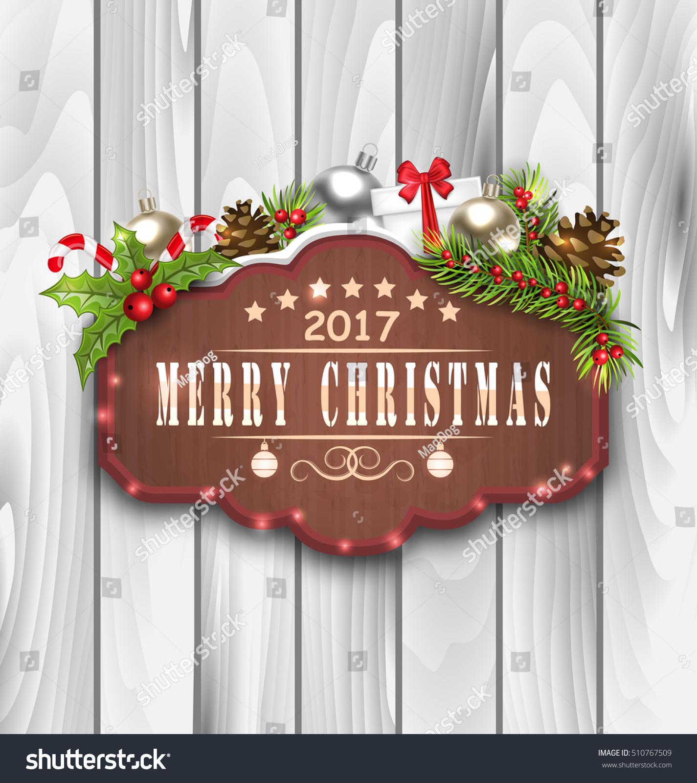 illustration wooden placard christmas decoration fir stock vector 510767509 shutterstock. Black Bedroom Furniture Sets. Home Design Ideas