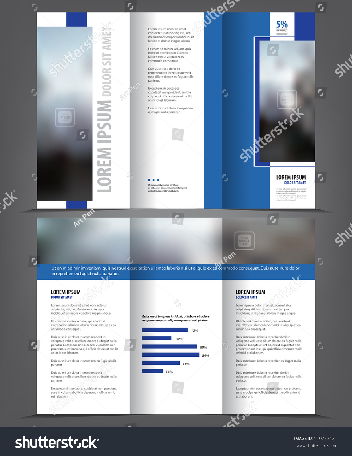 Vector Tri Fold Brochure Template Design Stock Vector - 5 fold brochure template