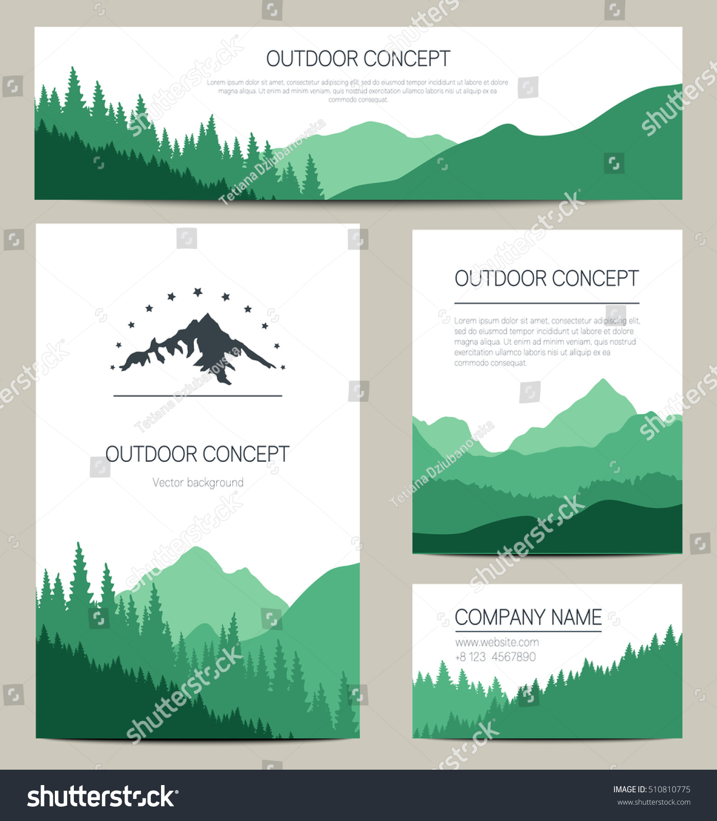 Set green mountains forest backgrounds vector stock vector 510810775 set of green mountains and forest backgrounds vector templates design for business cards greeting kristyandbryce Images