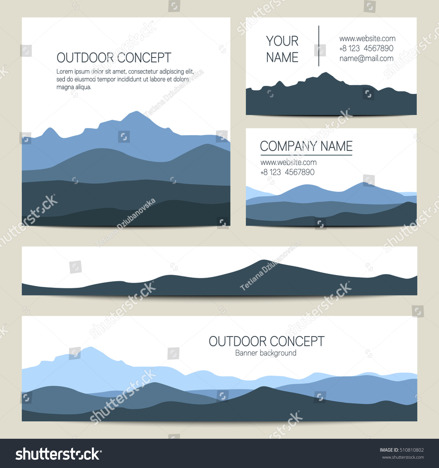 Set Blue Mountains Forest Backgrounds Vector Stock Vector 510810802