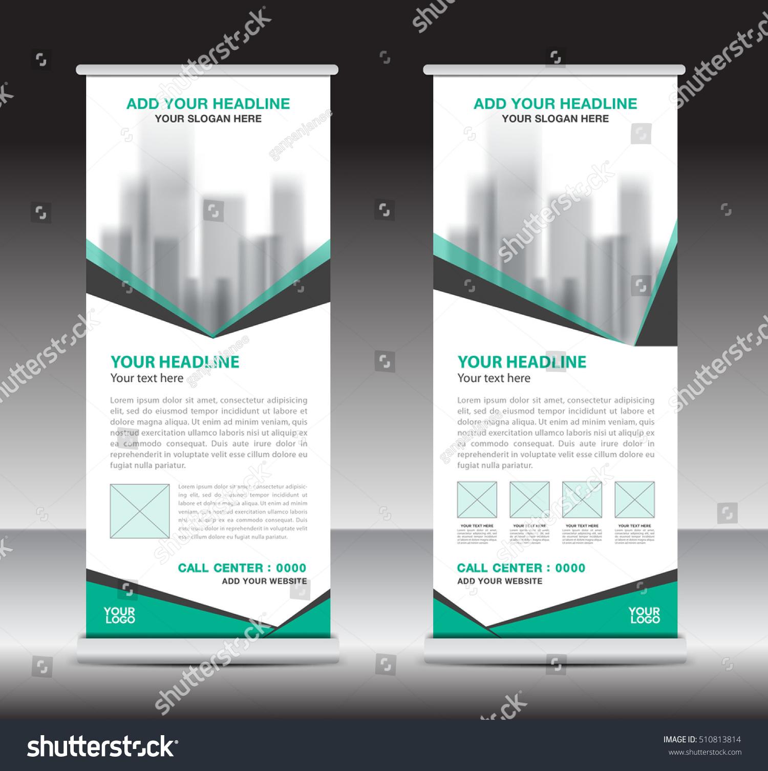 Green roll up business brochure flyer banner design vertical template - Green Roll Up Business Brochure Flyer Banner Design Vertical Template Vector X Stand