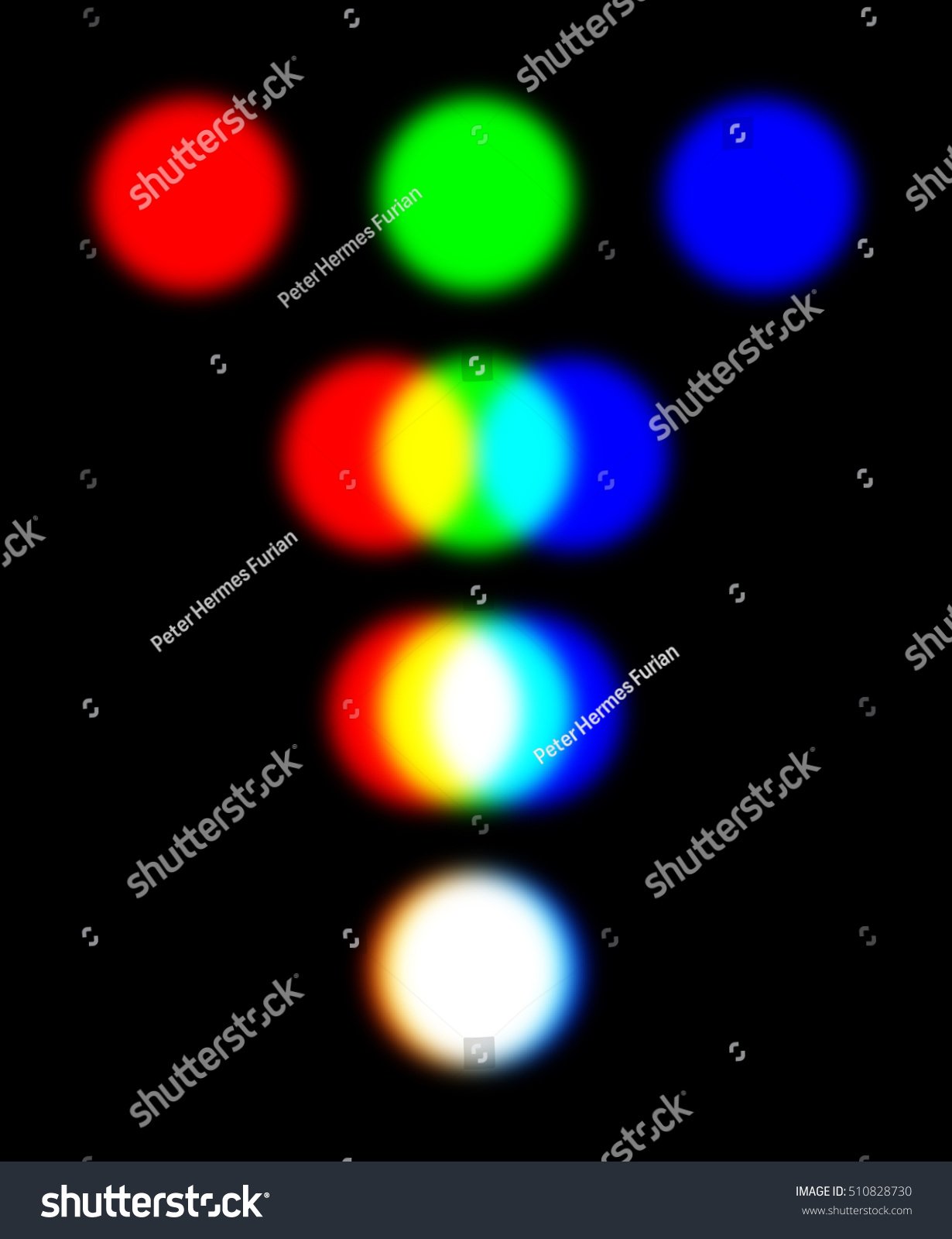 Rgb color model three overlapping spotlights stock illustration rgb color model with three overlapping spotlights representing the additive color mixing model the combination geenschuldenfo Image collections