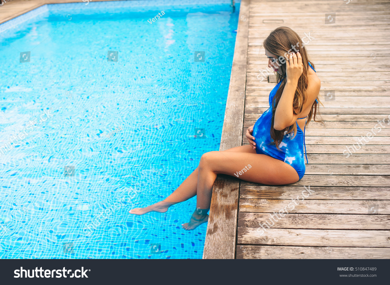 71c1ae279468c Beautiful Pregnant Woman Relaxing Near Blue Stock Photo (Edit Now ...