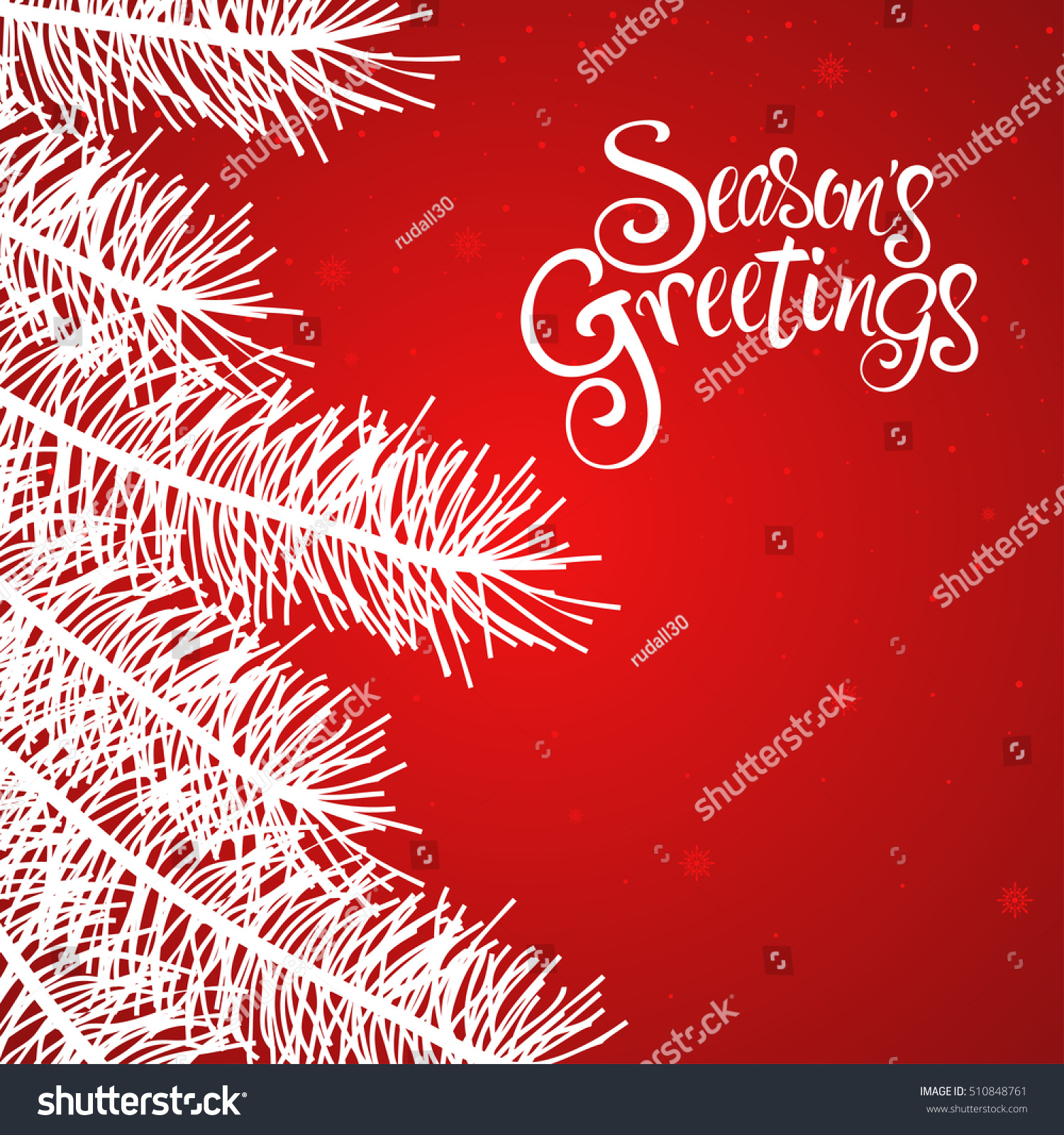 text seasons greetings decorative pine trees stock vector