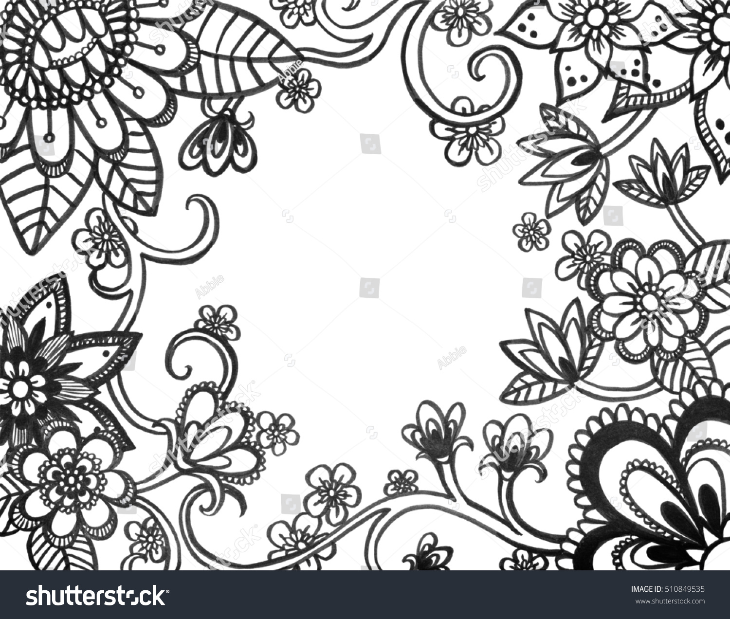Black White Floral Design Abstract Flowers Stock Illustration