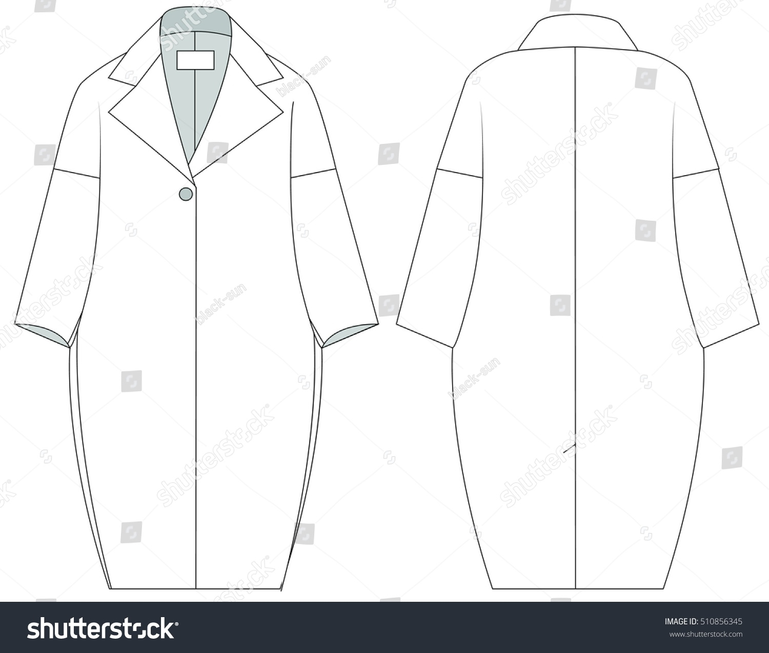 Flat Fashion Template Trench Coat Different Types Stock Vector ...