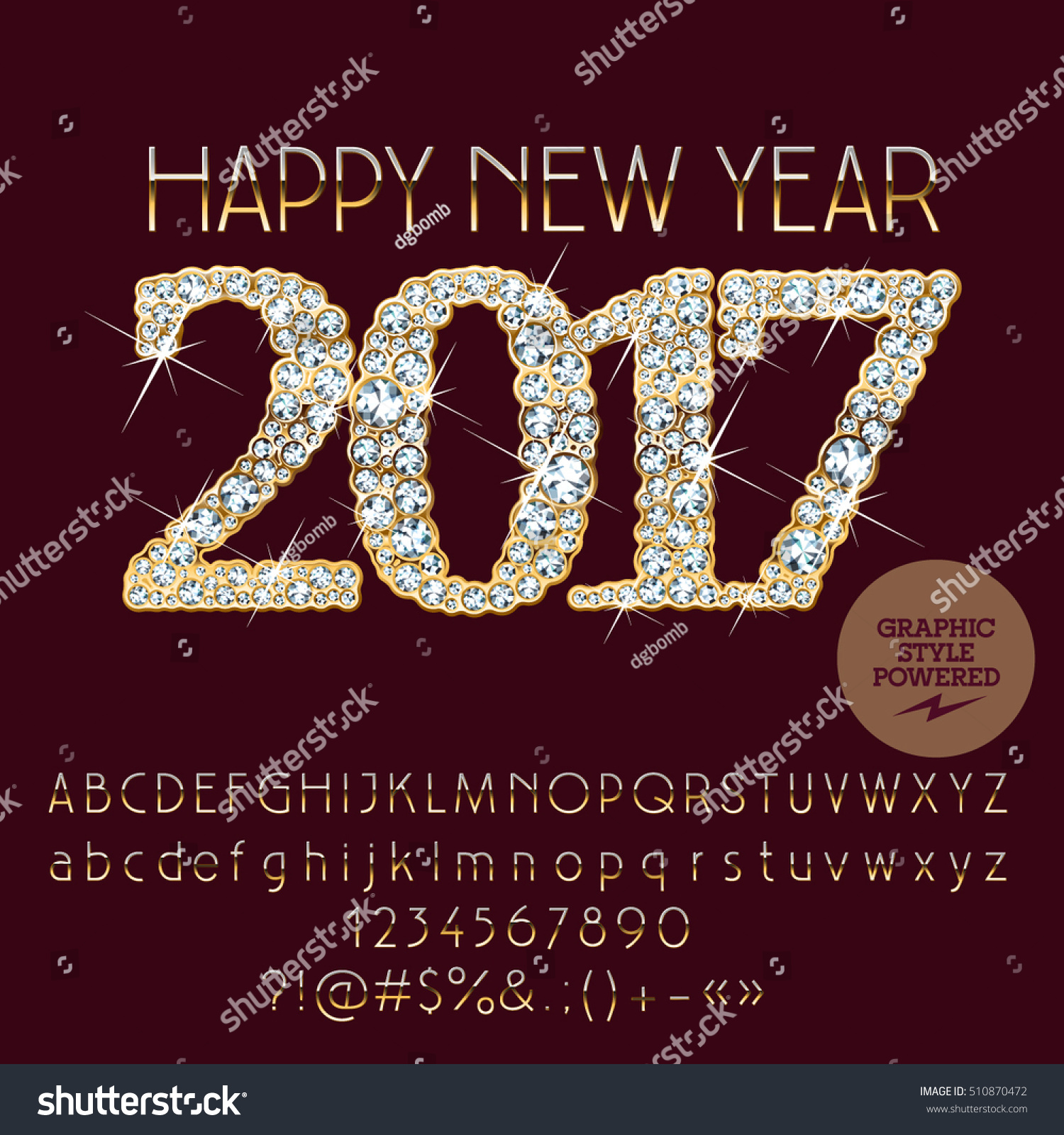 Vector Brilliant Happy New Year 2017 Greeting Card With