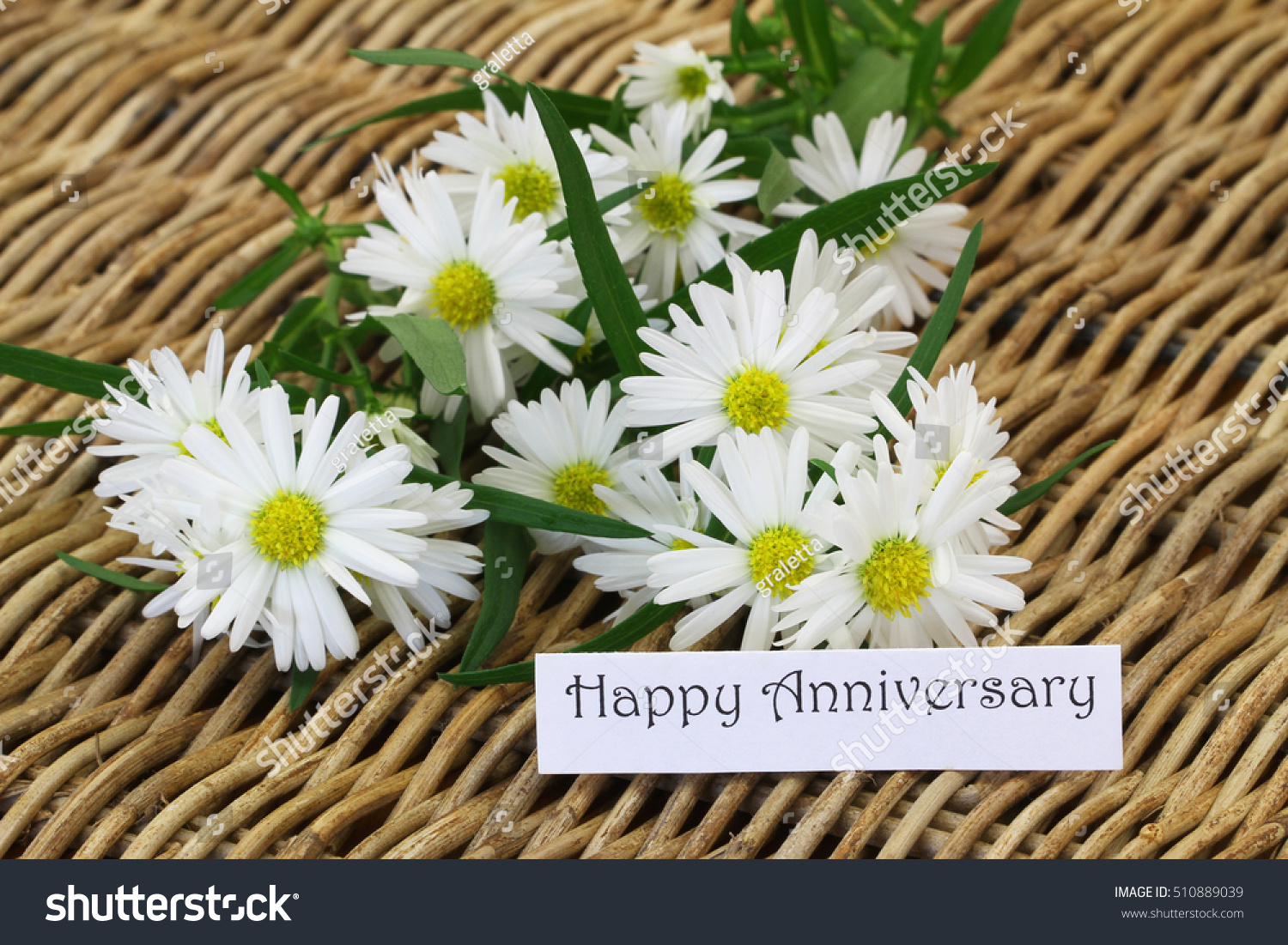 Happy Anniversary Card Bunch Daisy Flowers Stock Photo Edit Now