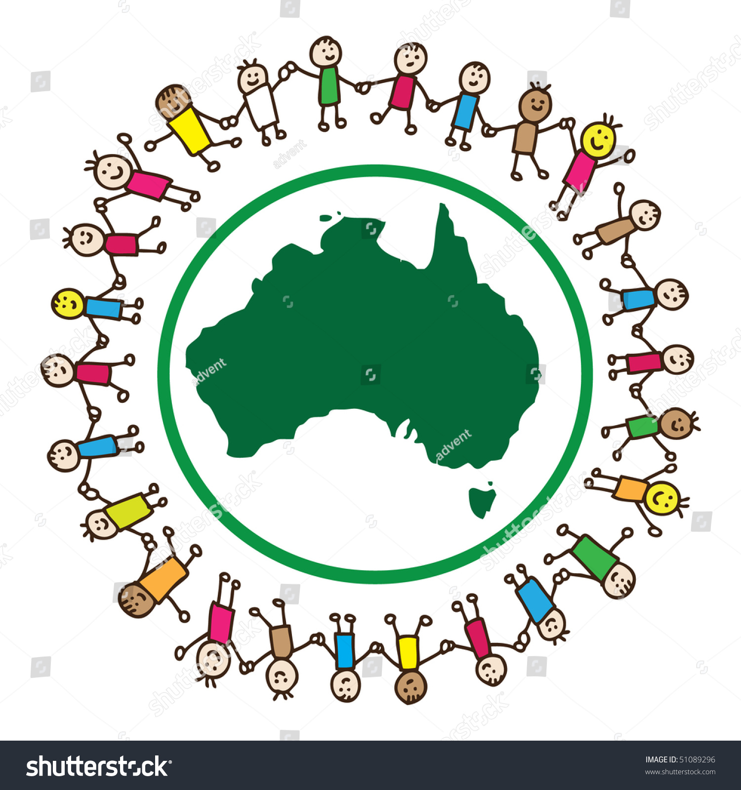 children united holding hands around australia stock vector royalty
