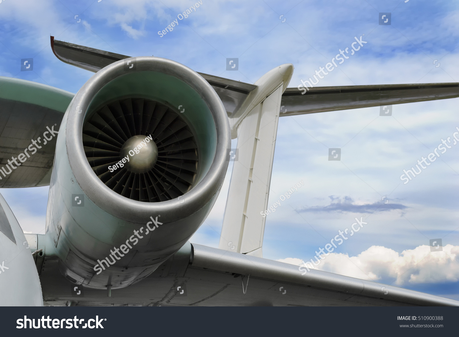 Close Airplane Jet Engine Parts Aircraft Stock Photo Edit Now Up Of The Fuselage And A Tail On
