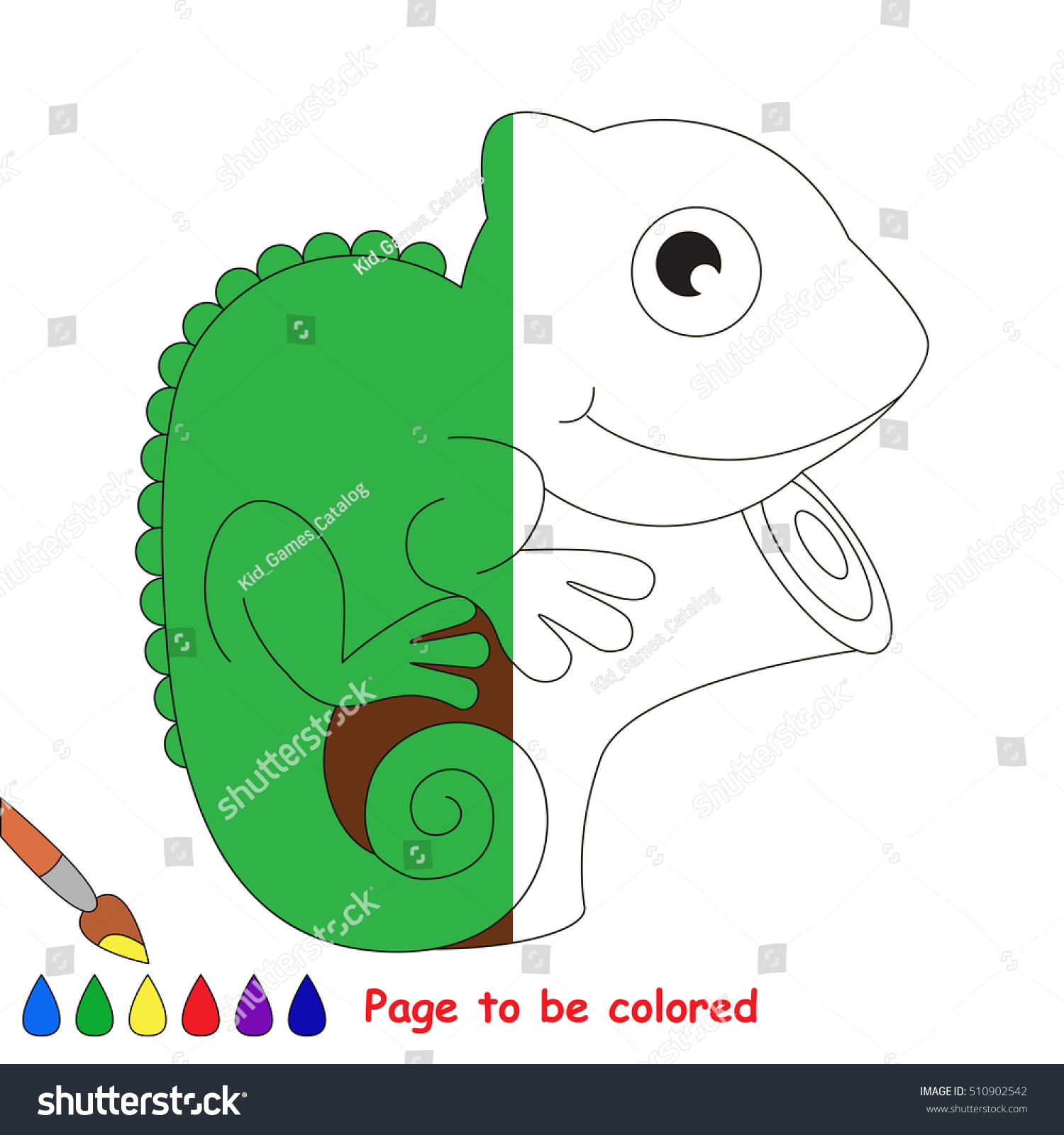 Iguana Be Colored Coloring Book Educate Stock Vector 510902542 ...