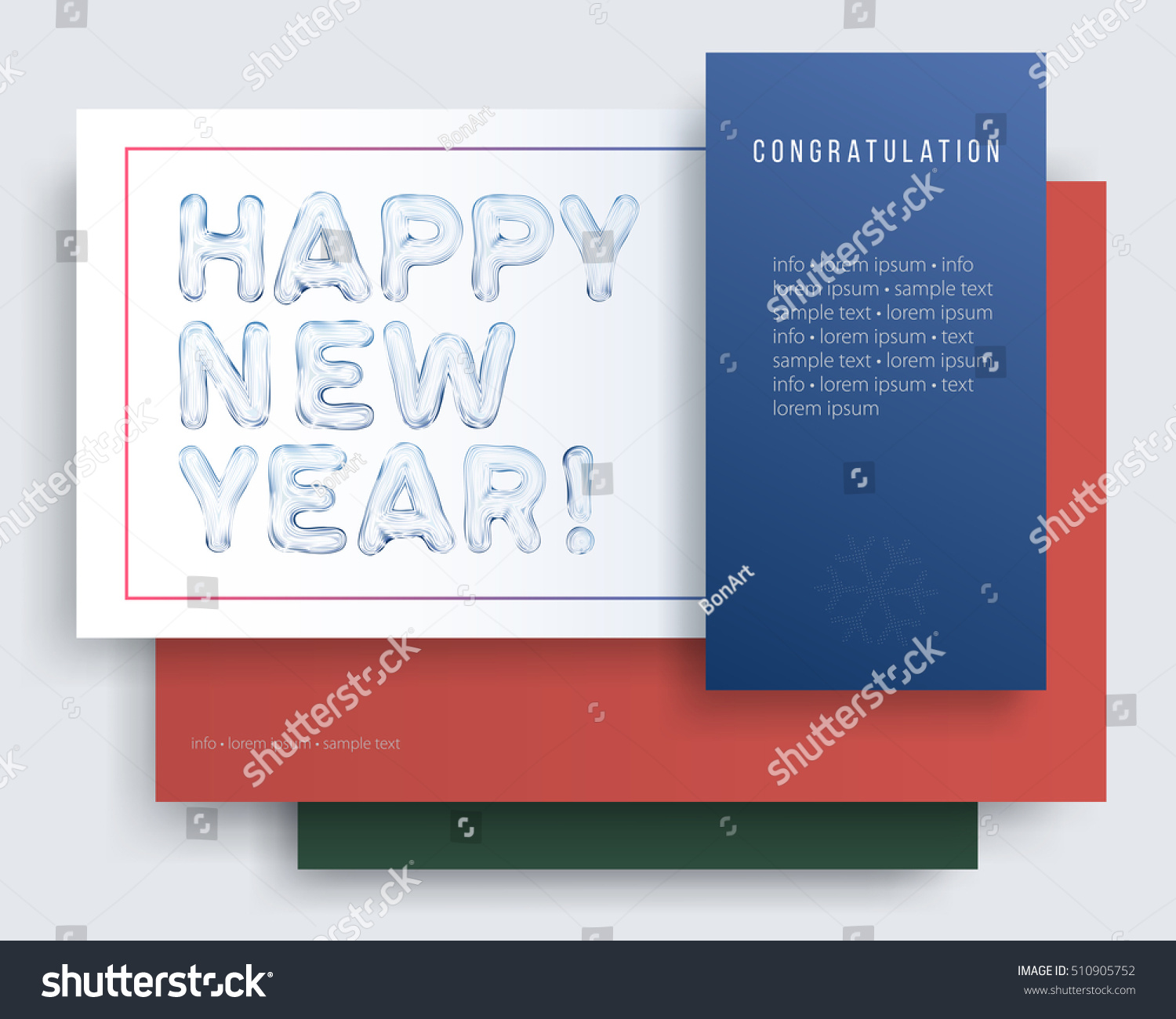 Happy New Year Greeting Cards Creative Stock Vector Royalty Free