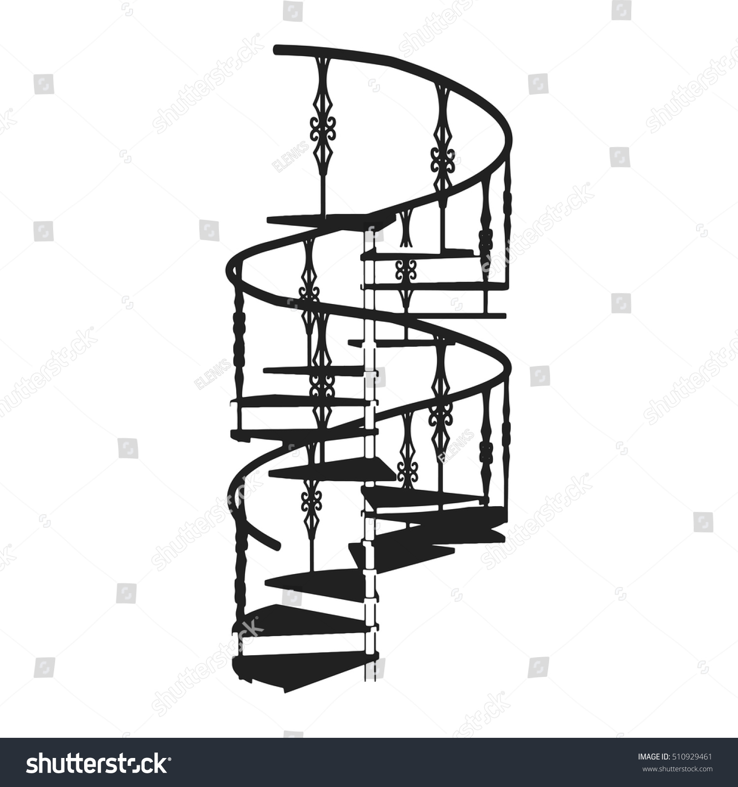 Spiral d staircase forged railing isolated stock vector