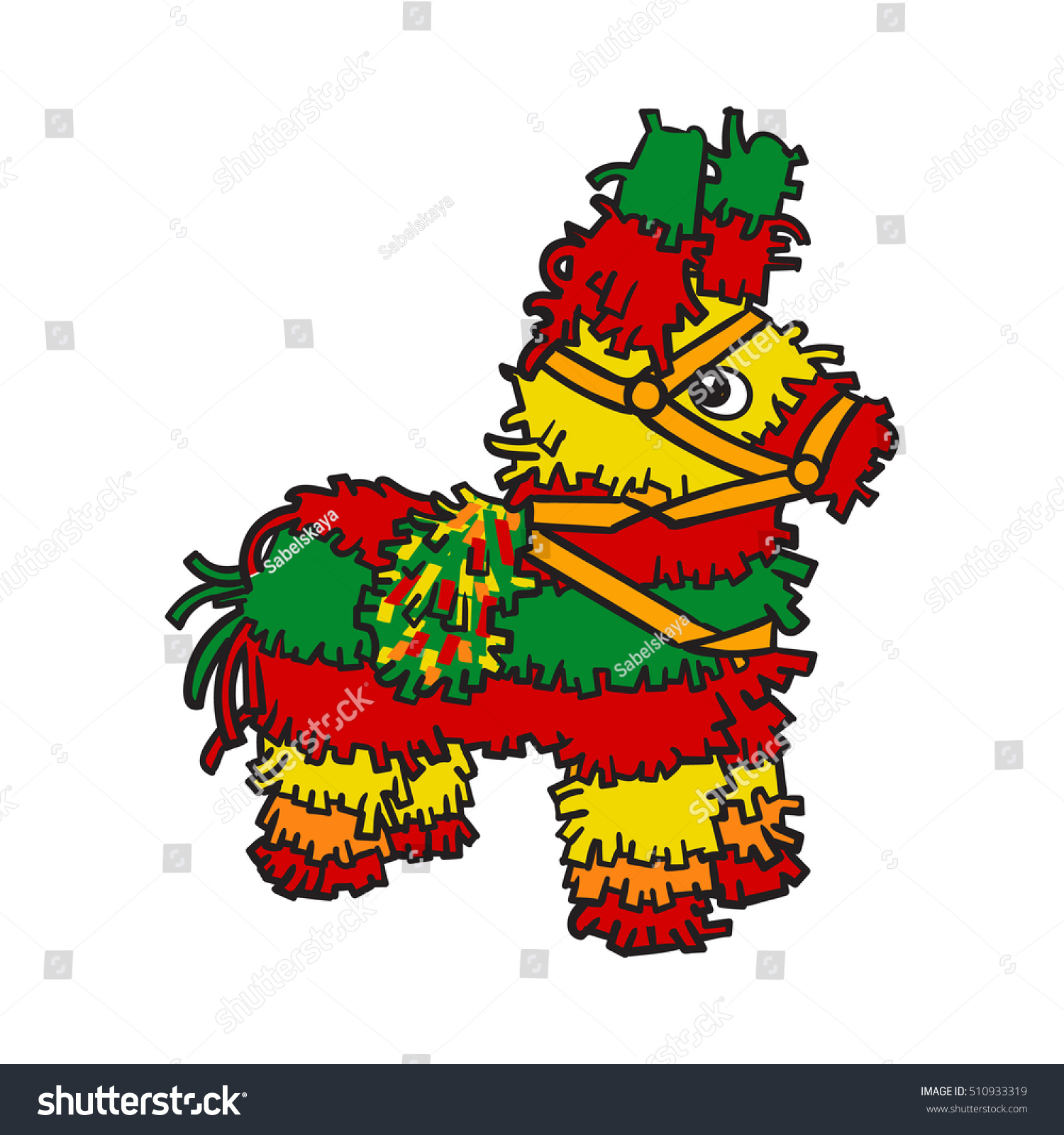 traditional mexican brightly colored striped pinata stock vector