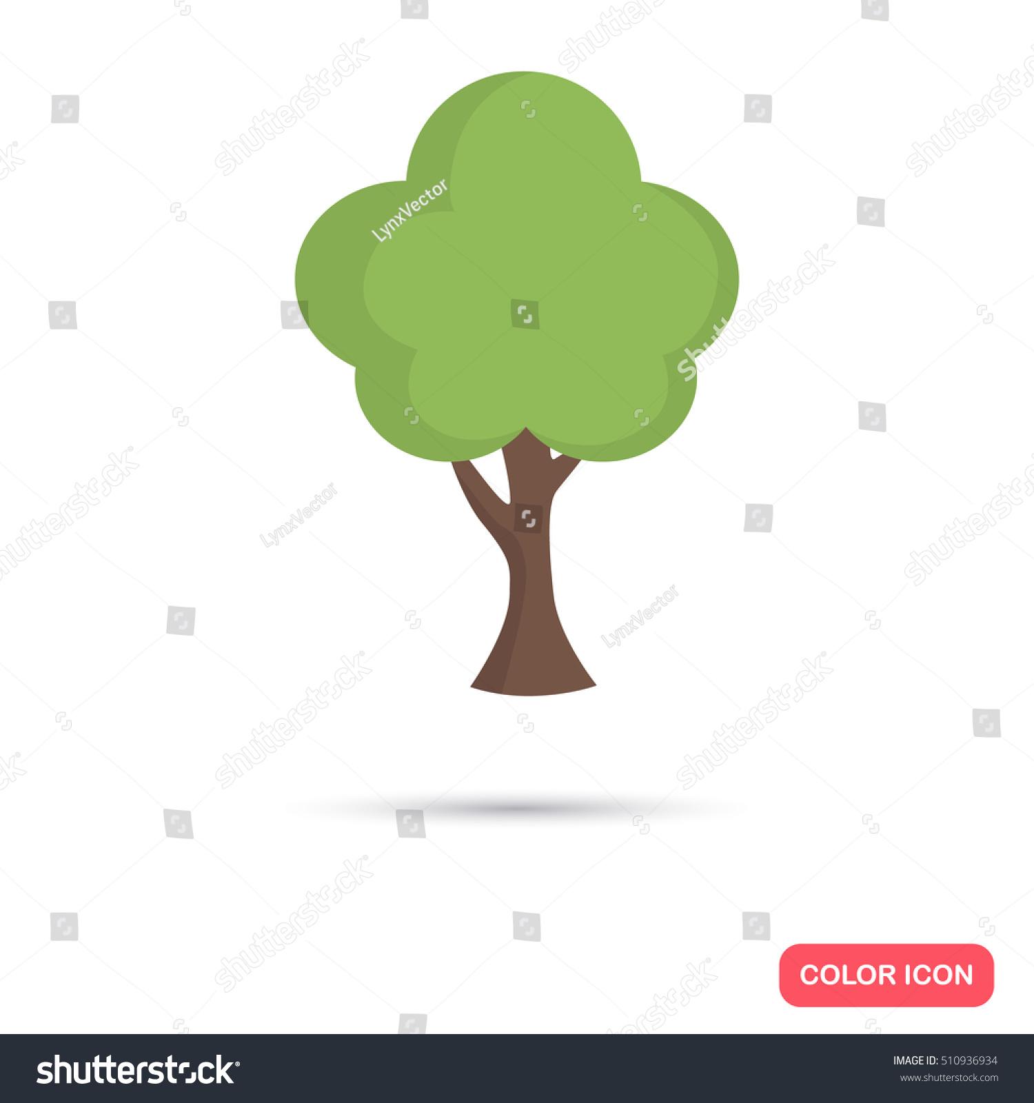 Green Tree Color Icon Flat Design Stock Vector 510936934 - Shutterstock