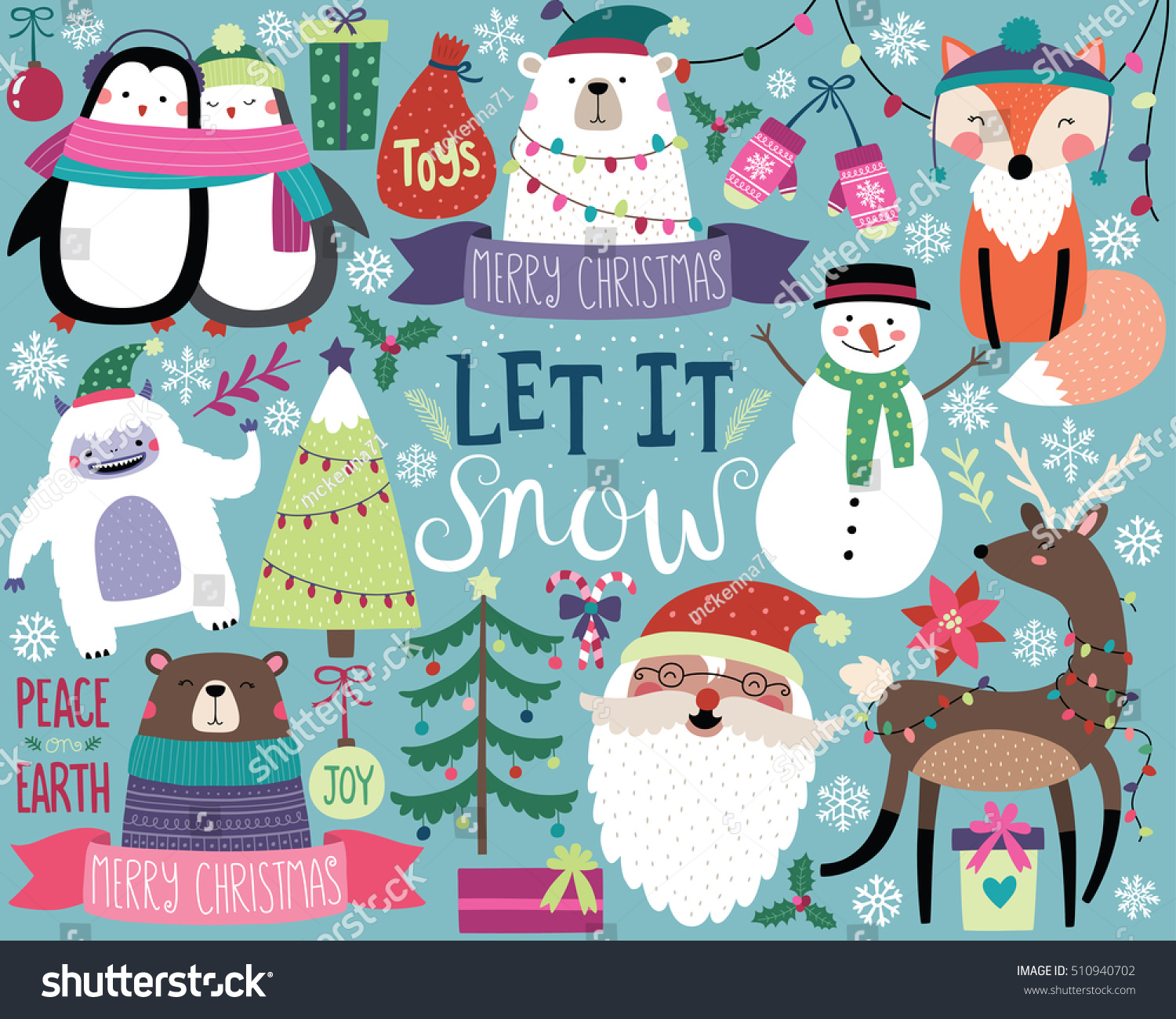 Cute Christmas Vector Illustration Bright Colorful Stock Vector Royalty Free 510940702