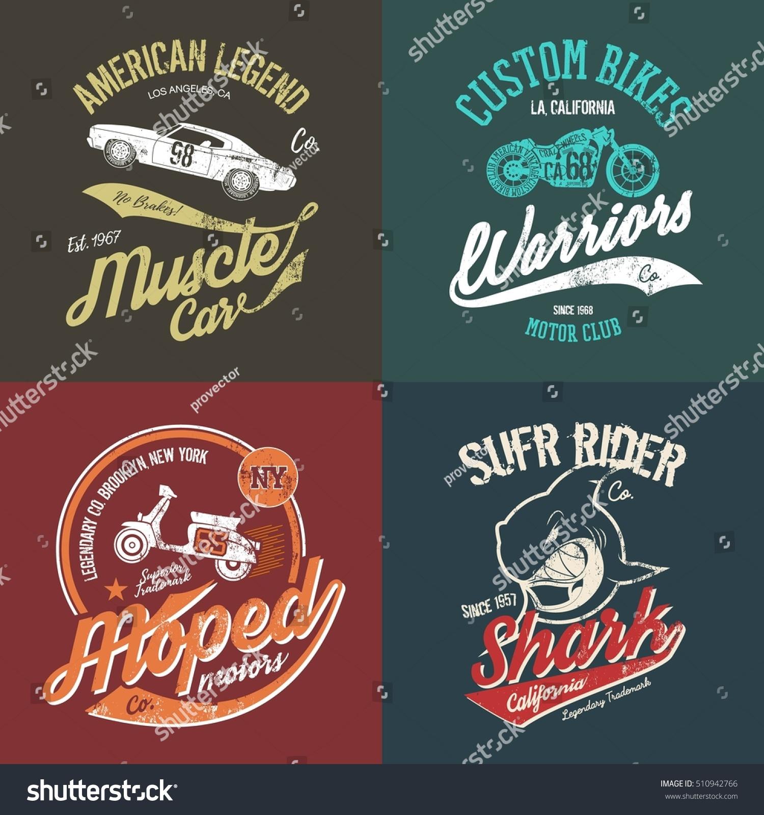Vintage american muscle car custom motorcycle stock vector for Custom car club shirts