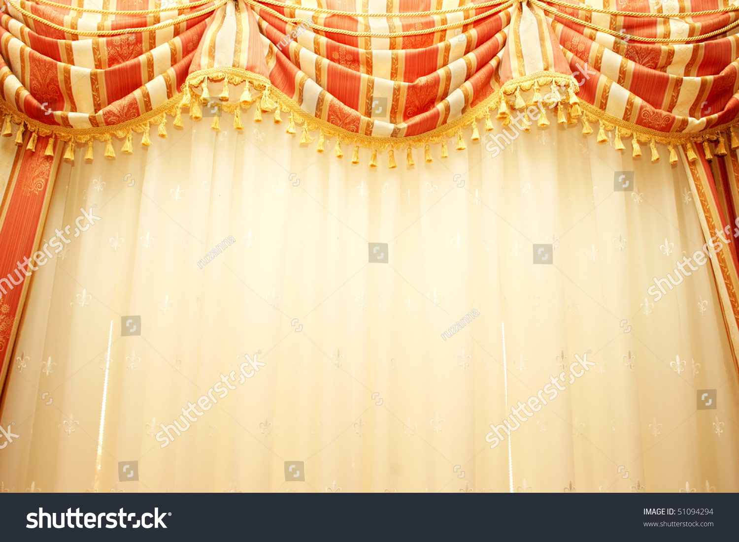 luxurious red and yellow curtains as a background stock photo 51094294 shutterstock. Black Bedroom Furniture Sets. Home Design Ideas