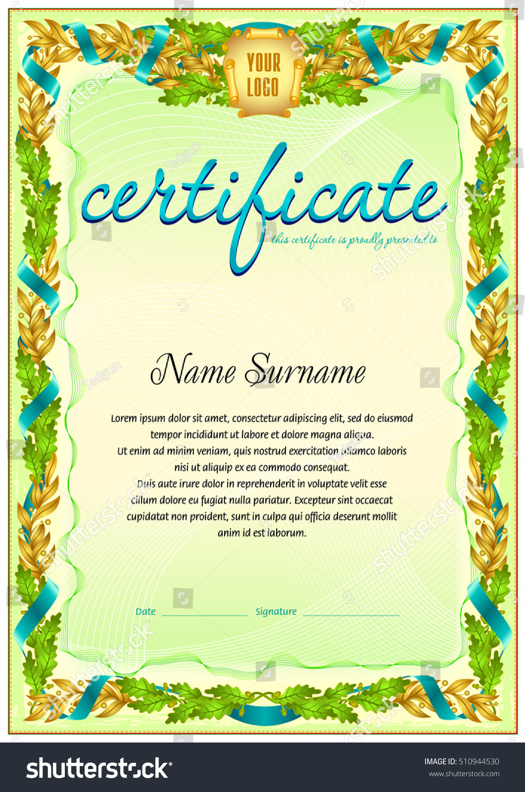Royalty Free Vintage Certificate Template With 510944530 Stock