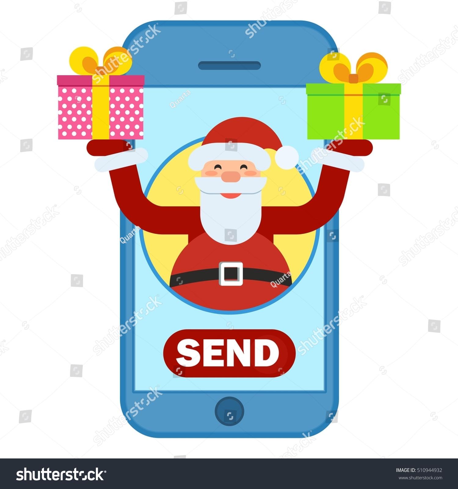Santa Claus Sending Christmas Gifts Via Stock Vector (Royalty Free ...