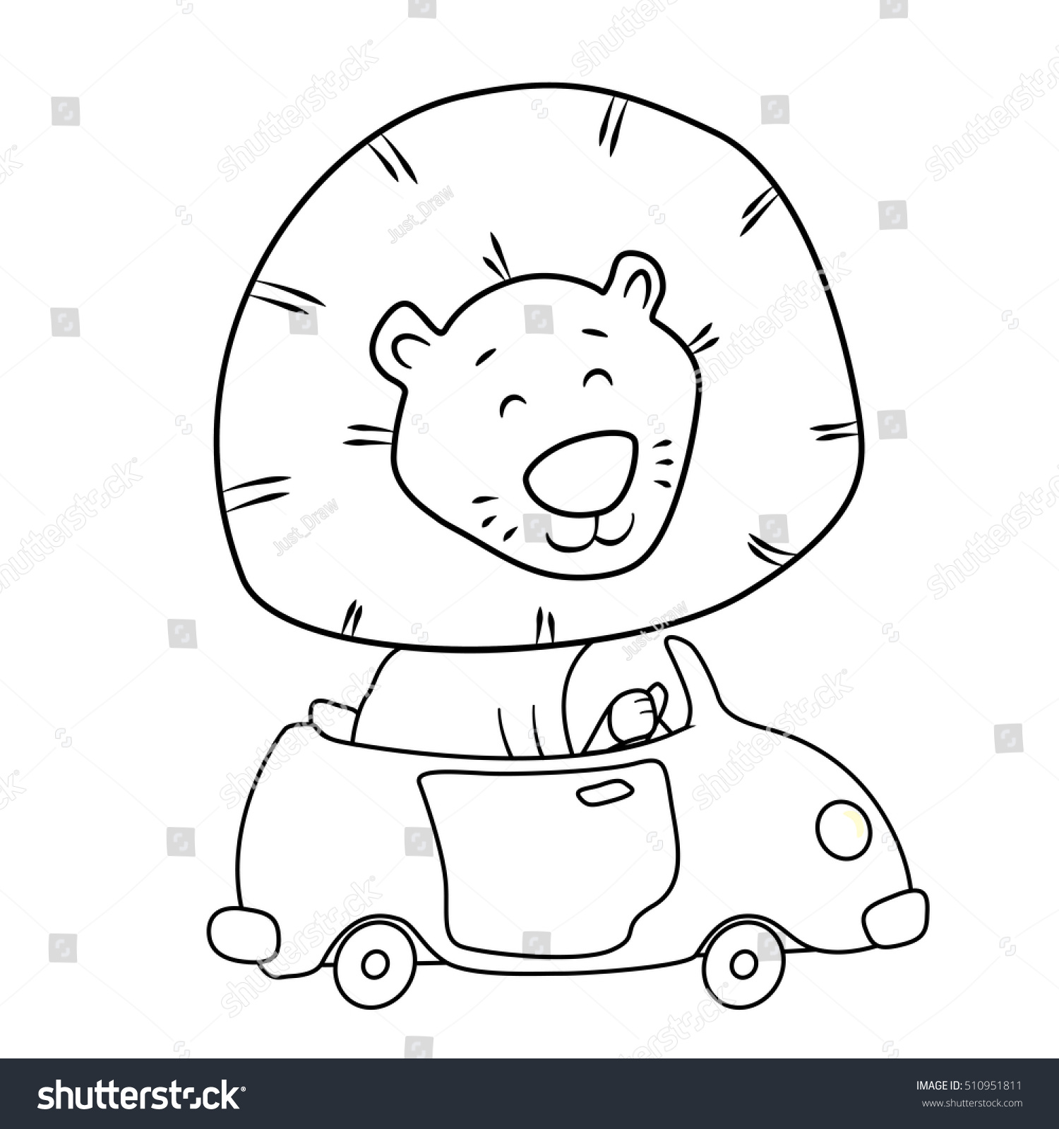 Cute Cartoon Lion Driving Car Coloring Stock Vector Royalty Free