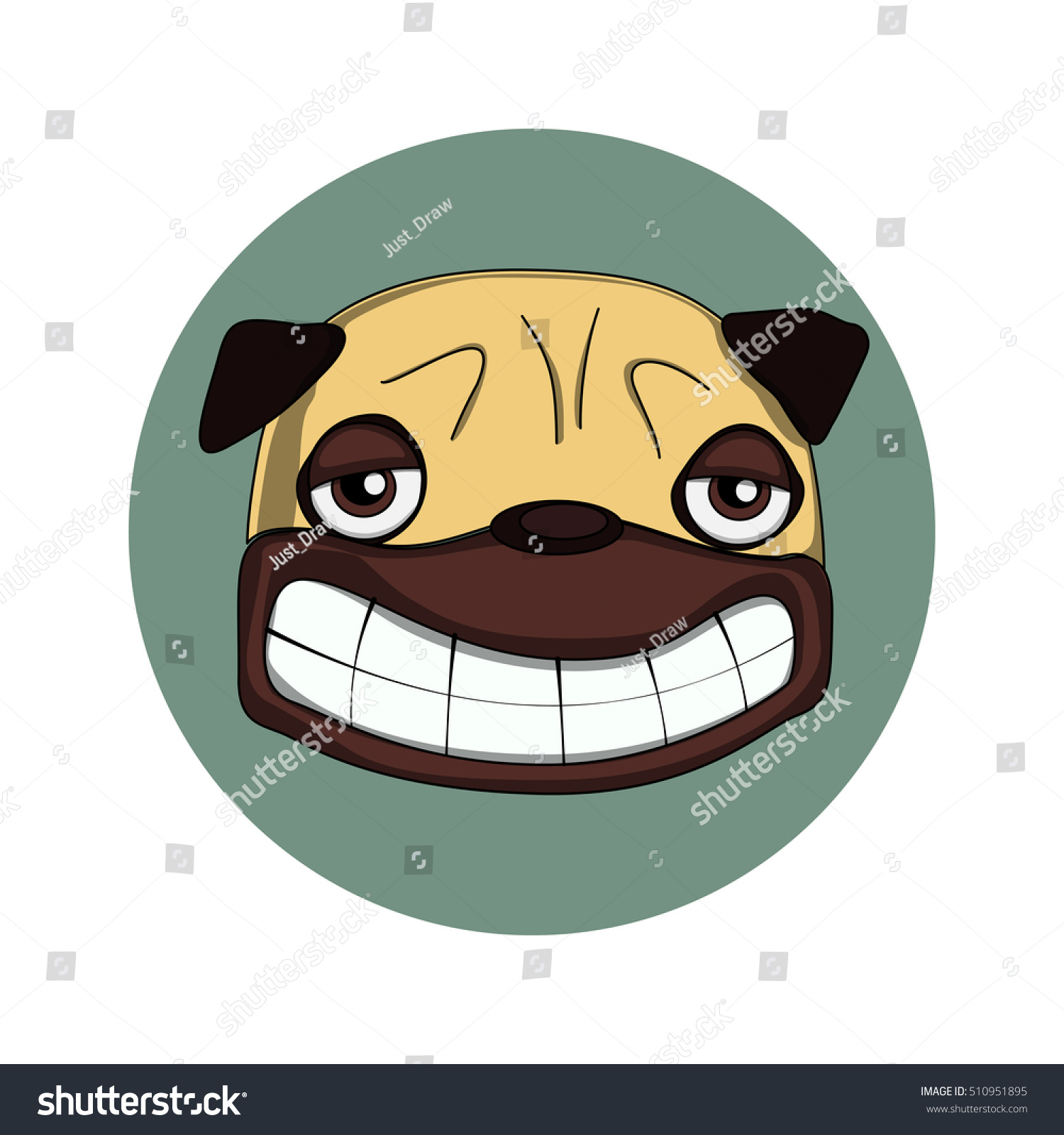 T shirt poster design - Cool Pug Character Design For T Shirt Poster Happy