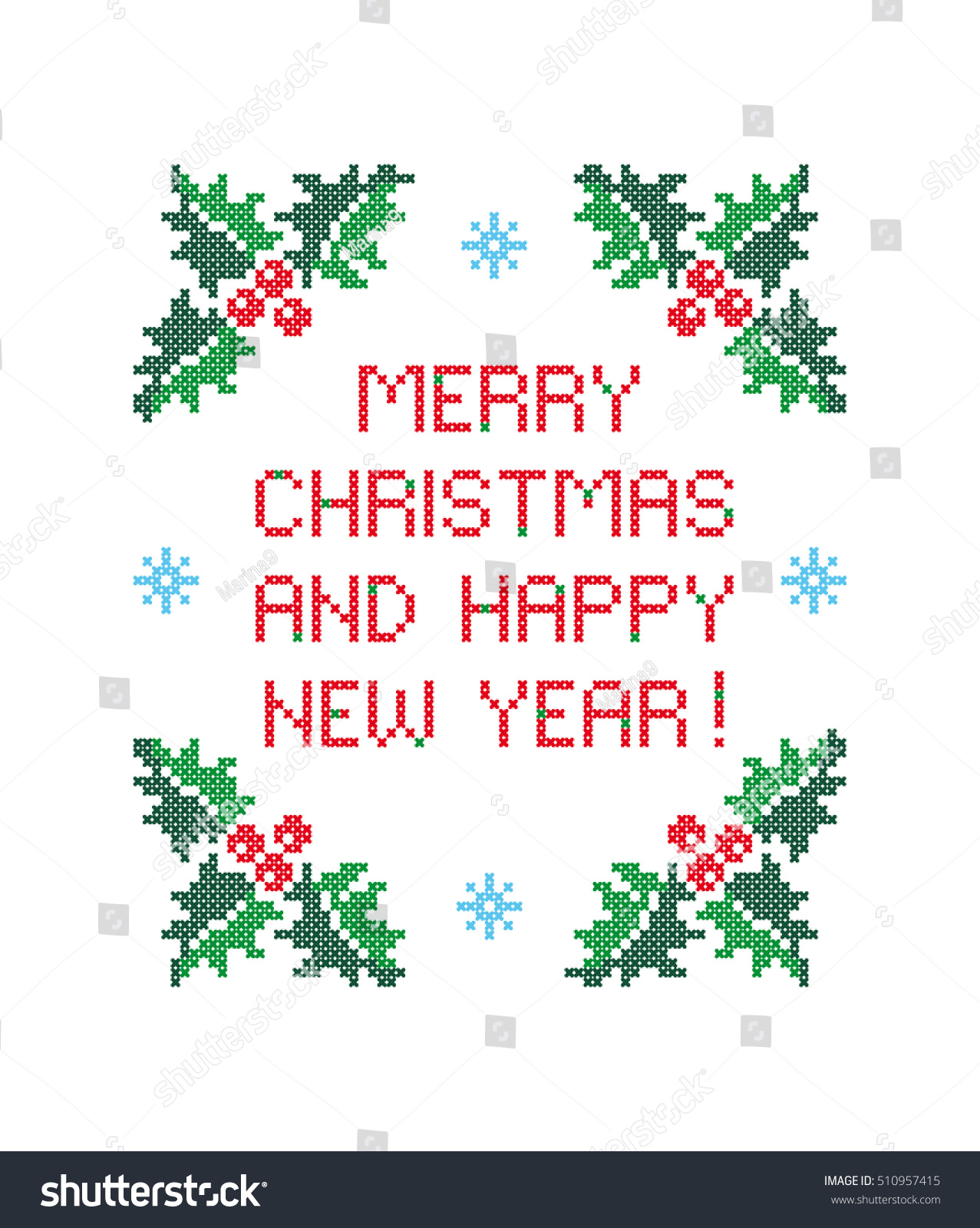 merry christmas and happy new year greeting card evergreen holly with berries cross