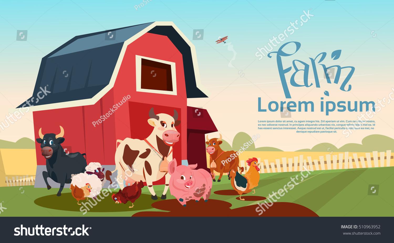 Farm Breeding Animals Farmland Background Flat Stock Vector
