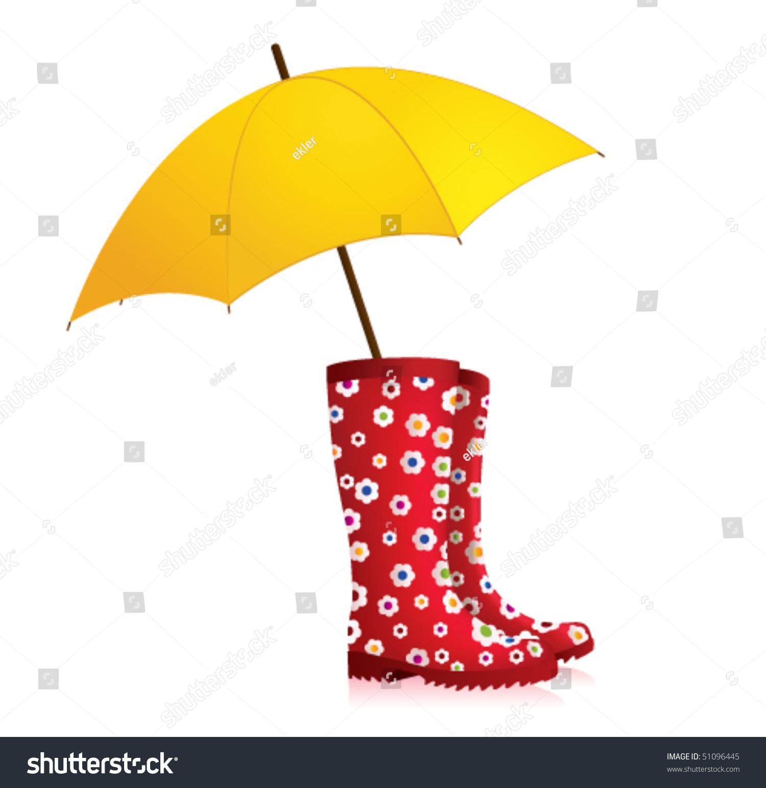 L Rain Boots Yellow Umbrella Stock Vector 51096445 ... - photo #35