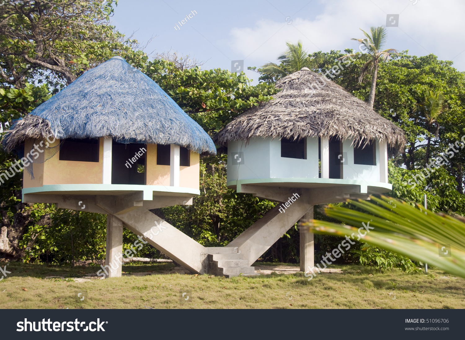 Elevated Beach Houses Thatched Roof Long Stock Photo