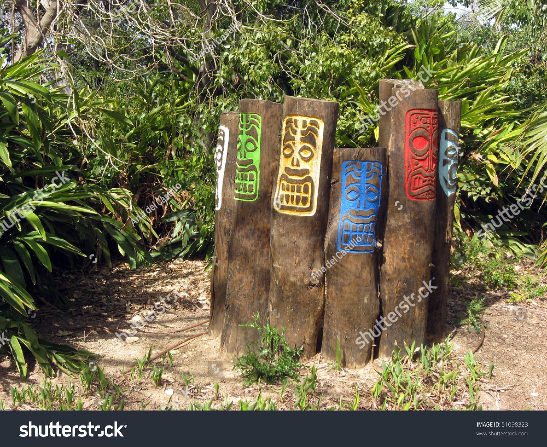 Tribal Wooden Boards Polynesia Tropical Garden Stock Photo (Safe to ...