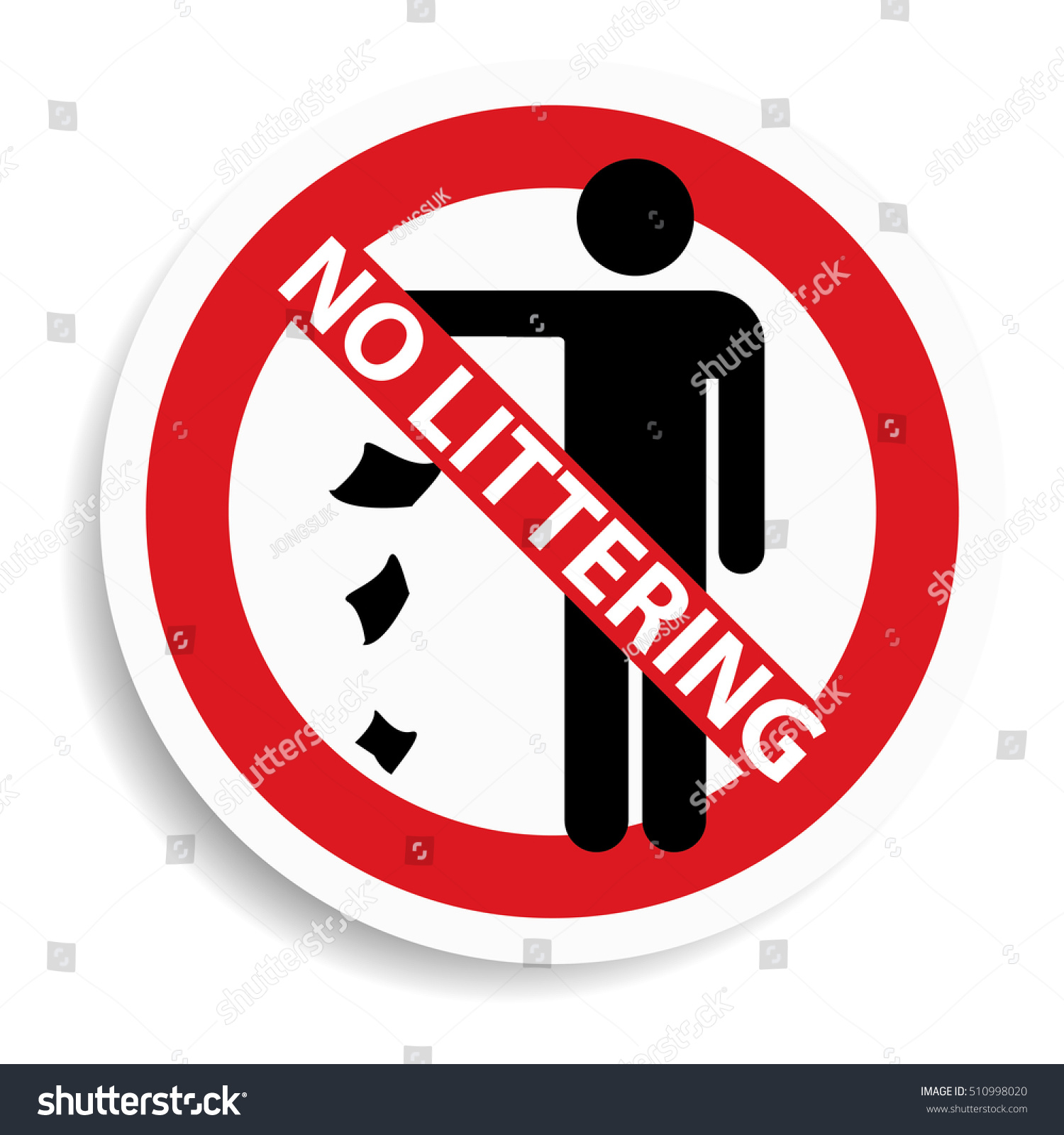 No Littering Sign On White Background Stock Illustration Royalty