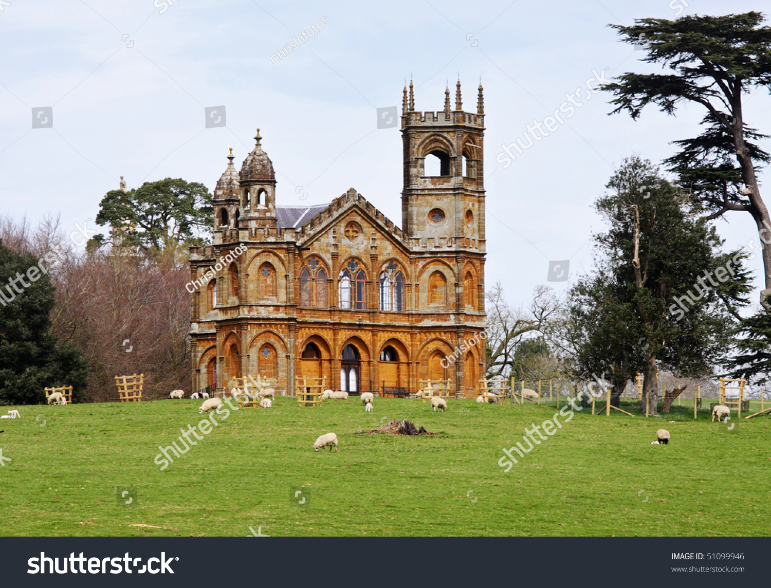 English landscape garden gothic style temple stock photo 100 legal an english landscape garden with gothic style temple on a hill and grazing sheep workwithnaturefo