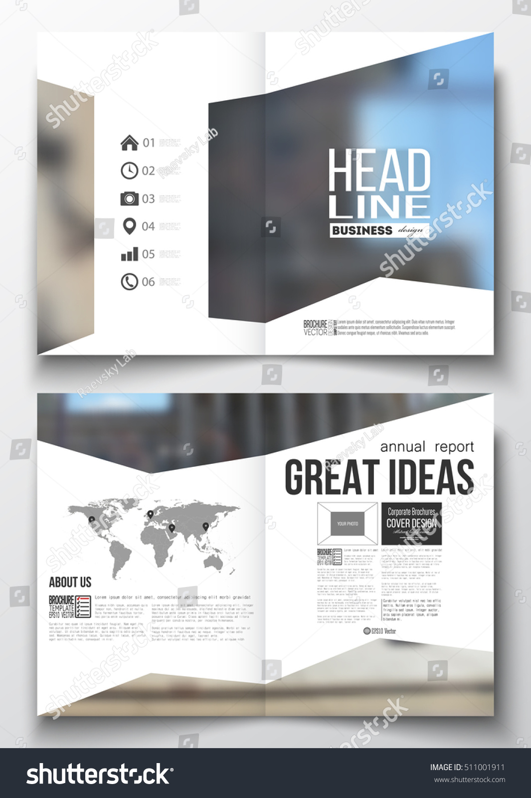 Set Business Templates Brochure Magazine Flyer Stock Vector (Royalty ...
