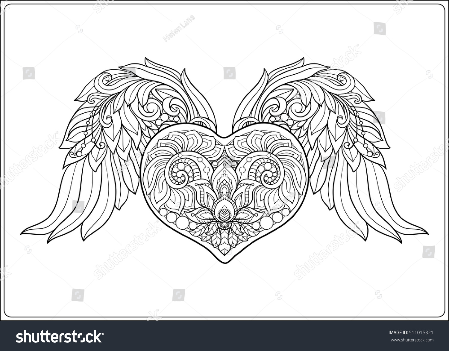 Decorative Patterned Love Heart Angel Wings Stock Vector 511015321 ...